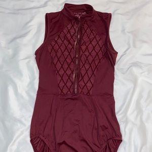 mirella burgundy leotard